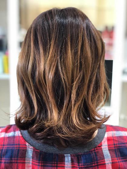 ✂︎カット&グレイカラー(リタッチ)&デザインカラー(ハイライト) 根元の白髪染め&ハイライト  ツヤツヤにしあがります