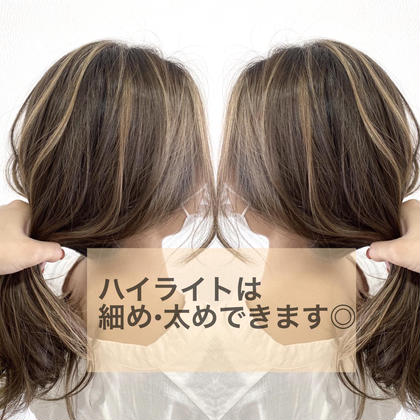 【人気No.2】カット+ダメージレス外国風ハイライトカラー