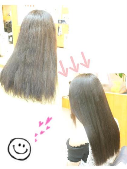 ブリーチ→黒染め→パーマを繰り返した髪でも、 ダメージを最小限に抑えることの出来る当店の「酸性ストレート❤」ならサラ艶ヘアに大変身です☆ ClearTimes所属・福山敦子のスタイル