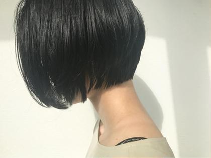 黒髪でもオシャレなショートボブです☆学生さんや仕事の規定で染められない方におススメです☆乾かして仕上がる楽チンなスタイルです☆ SAKURA所属・SAKURAomotesandoのスタイル