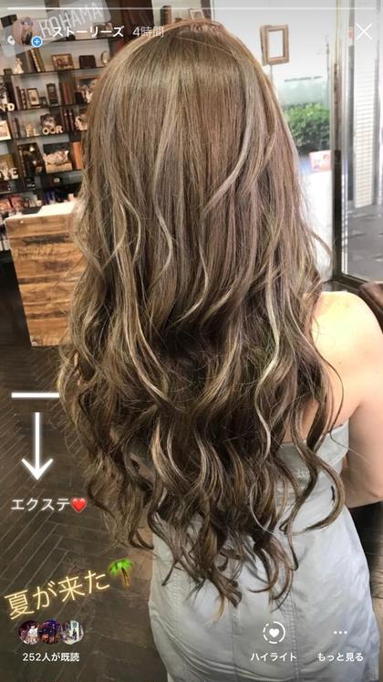 ロング 地毛は肩下の3Dハイライトに合わせてエクステ60cm50本(^^)
