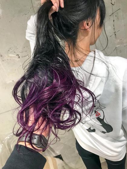 パープル★ オクリコウダイのセミロングのヘアスタイル