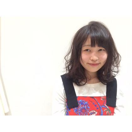 軽さが出るようにボブベースで 少しだけ段が入ってふわふわ春Style Agu hairsweet所属・W.ayumiのスタイル