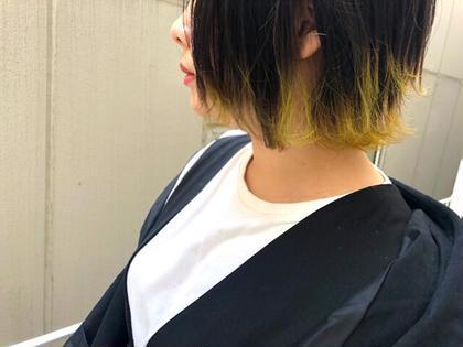 黄色の裾カラー♡ 被せる髪色を暗くしてコントラストが可愛い♡ bassa江古田店所属・🌟透明感color増島七海のスタイル
