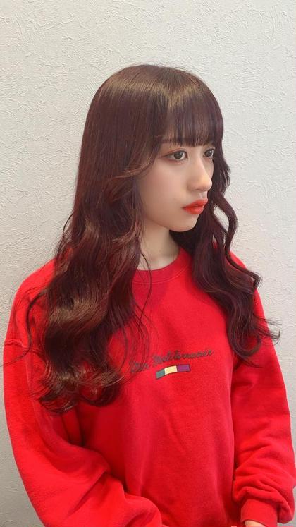 【イルミナカラー】  韓国スタイル/ブロッサムレッド  ブリーチなし 特製カラーバター配合  透け感と艶感カラー 韓国式レイヤーカットで色気のある韓国スタイル🇰🇷