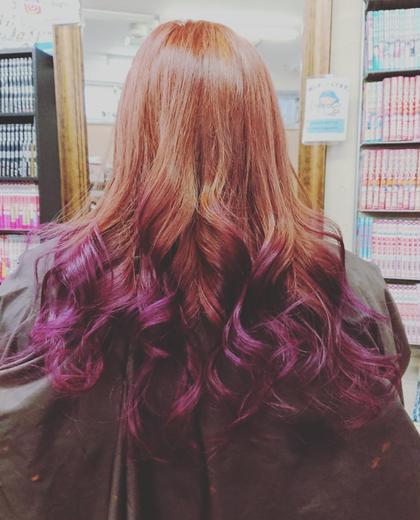 ピンクからパープルへのグラデカラーです。 hair and make R【ヘアーアンドメイク アール】 所属・吉田 佳代のスタイル