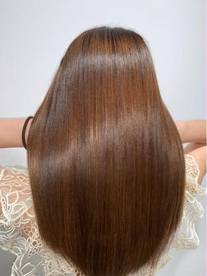🌞おすすめメニュー🌞≪ナチュラルボリュームダウン≫ カット+髪質改善ストレート+透け感カラー+トリートメント🐼
