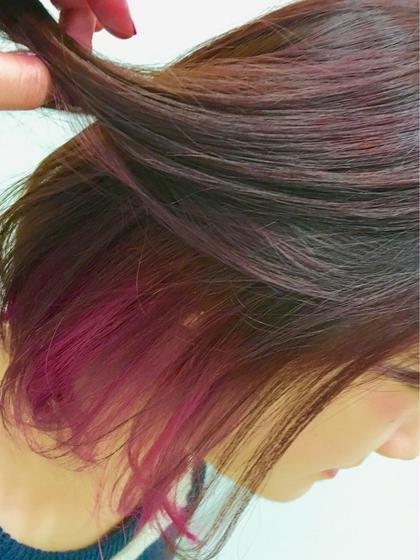 インナーカラーにピンクを入れました! カラーはワインレッドに!^ ^ assembly所属・久保田有希のスタイル
