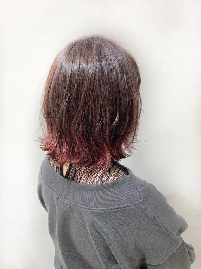カラー ミディアム #裾カラー #グラデーションカラー #ピンクグラデーション #ブリーチ #切りっぱなしボブ