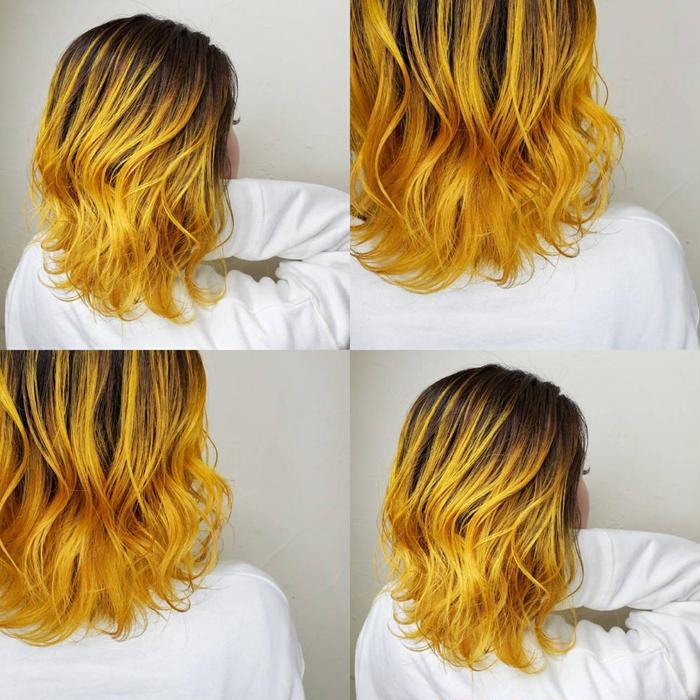 カラー ショート ヘアアレンジ グラデーションイエロー🚸🚸🚸