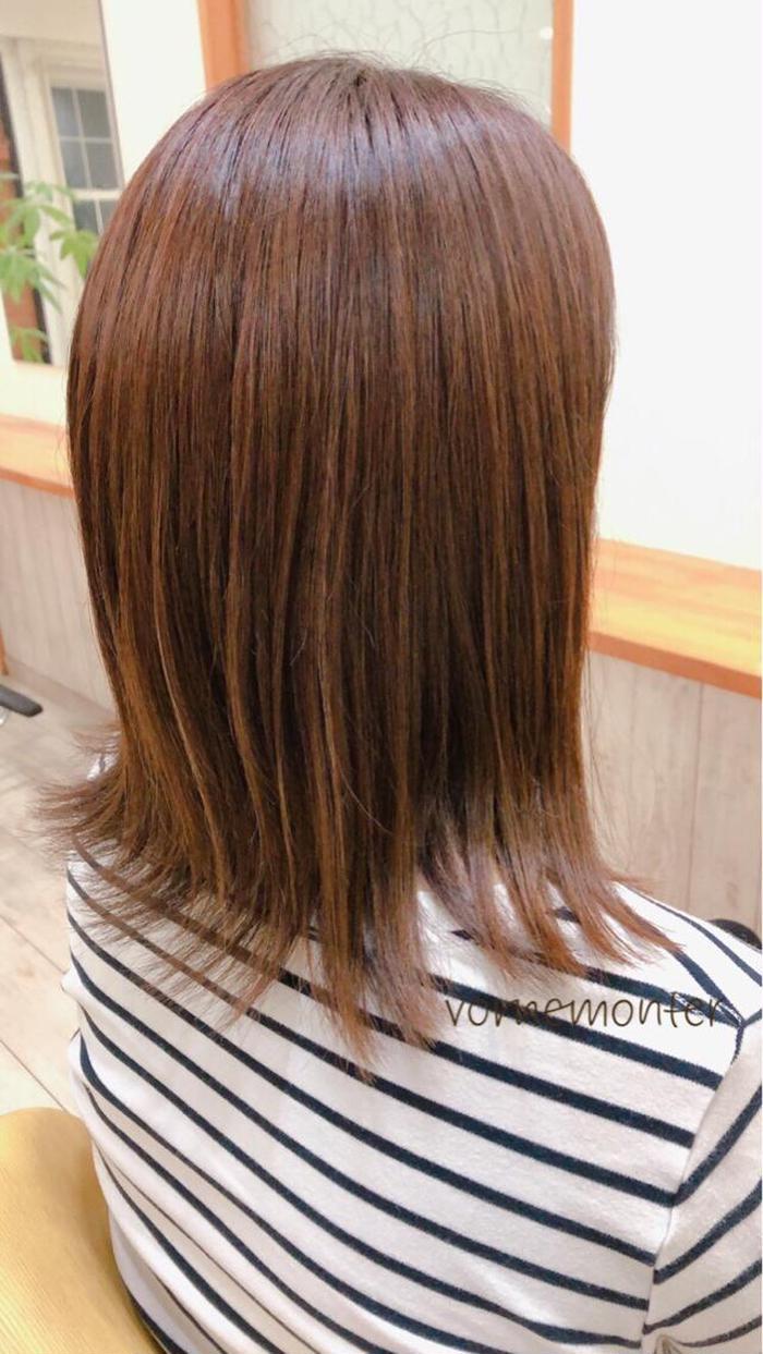 セミロング 白髪が気になるけど、明るめご希望! しっかりと白髪をカバーしながら明るさも出しています。