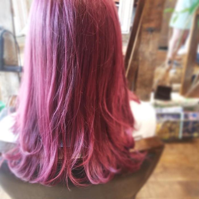 その他 カラー セミロング ブリーチしてからのピンクは色落ちもめっちゃかわいいです!